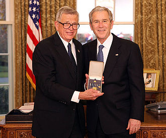 Charles Colson - Colson with President George W. Bush after receiving the Presidential Citizens Medal, December 20, 2008
