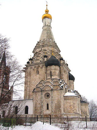 Tented roof - The rocket-like church at Ostrov near Moscow is considered typical for Boris Godunov's reign.