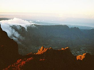 Cilaos - The cirque as seen from the Piton des Neiges.