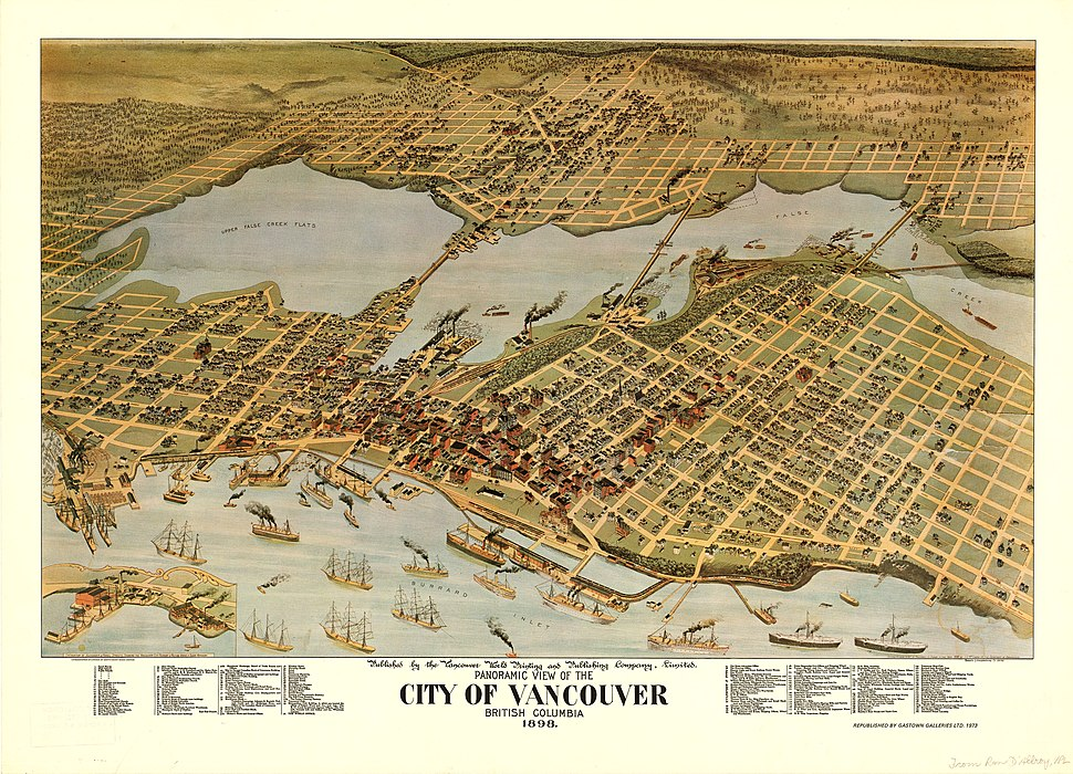 Black-and-white illustration of Vancouver. Large ships fill the harbour in the south; the town, filling the centre of the map, is bounded by trees on the left and top sides. Bridges span the middle-top body of water.