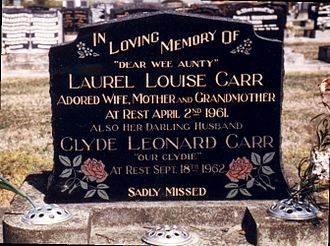 Clyde Carr - Grave of Carr and his wife Laurie