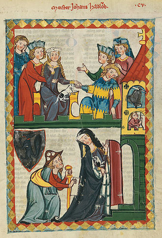 1300–1400 in European fashion - Clothing of the first half of the 14th century is depicted in the Codex Manesse.  In the lower panel, the man is dressed as a pilgrim on the Way of St James with the requisite staff, scrip or shoulder-bag, and cockle shells on his hat.  The lady wears a blue cloak lined in vair, or squirrel, fur.