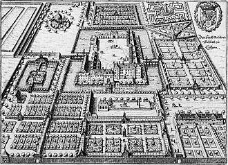 Schloss Köthen - Engraving of the property c. 1650
