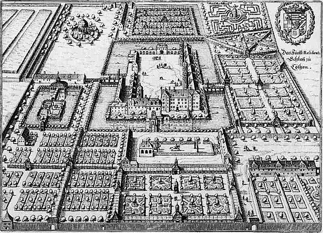 Дворец и сады в Кётене, гравюра из книги «Topographia» Маттеуса Мериана, 1650 год