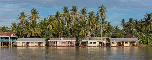 Colorful floating bungalows in Don Khon, Laos