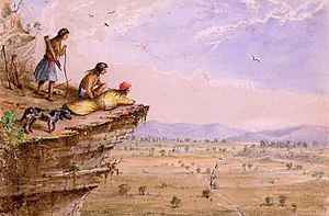 Comanche - Comanches watching an American caravan in West Texas, 1850, by the US Army officer, Arthur Lee