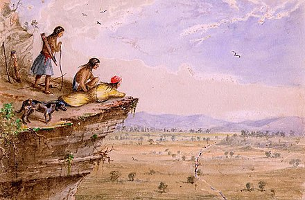Comanches watching an American caravan in West Texas, 1850, by the US Army officer, Arthur Lee Comanche Lookout Arthur T. Lee.jpg