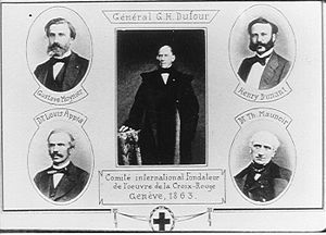 Henry Dunant - Drawing of the five founders of the International Committee.