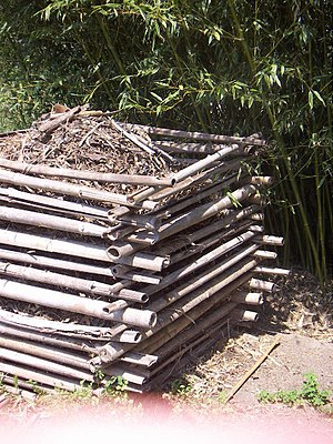 Garden Compost bin made of Bamboo canes.