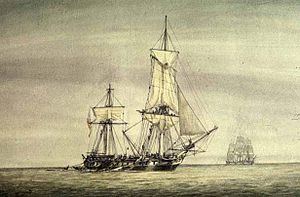 In the open sea a frigate is severely mauled by combat, with her rigging spilling over the sides while another frigate sails in the background.