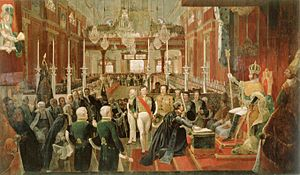 Old Cathedral of Rio de Janeiro - Coronation ceremony of Emperor Pedro I on 1 December 1822 (painting by Jean Baptiste Debret).