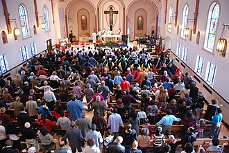 Congregants at Mass at Corpus Christi Church in Oklahoma City, Oklahoma Corpus Christi Mass, OKCity.jpg