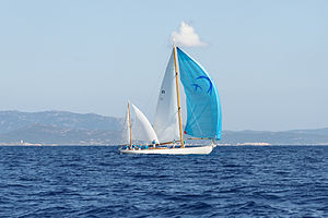 Yawl - Skylark of 1937, a yawl designed by Sparkman & Stephens and built in 1937, during the 'Corsica Classic 2013' yacht race
