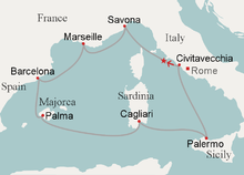 """Planned route of Costa Concordia around the Mediterranean"""