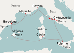 Route Of Mediterranean Cruise From Civitavecchia And Back Arrow Journey On First Leg Star Collision