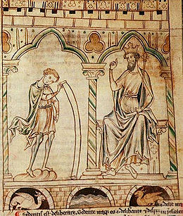 A yellowed manuscript illustrated with two men each placed under an arch supported by columns. The one on the left is wearing a short tunic and cloak and unrolls a long scroll to show to the other figure. The figure on the right is dressed in long robes, wears a crown and is seated and carrying a sceptre.