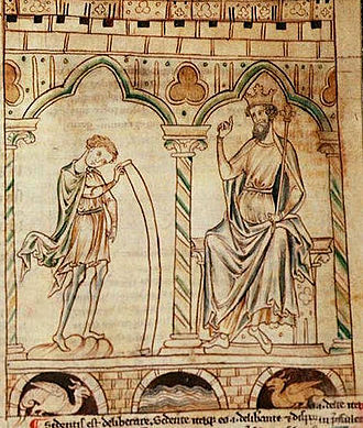 Merlin - Merlin reads his prophecies to King Vortigern in Geoffrey of Monmouth's Prophetiae Merlini (c. 1250-1270)