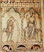 Merlin lit ses prophéties au roi Vortigern.
