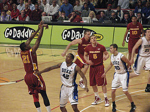 Lance Thomas - Thomas guarding Craig Brackins of Iowa State.