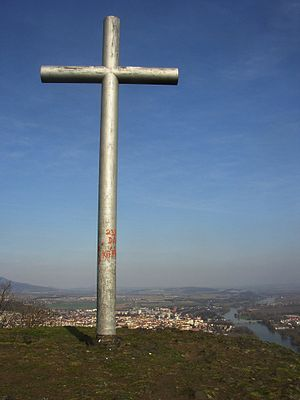 Radobýl - Cross on the summit, Litoměřice and Elbe River in the background.