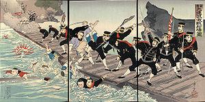 Battle of Jiuliancheng - Ukiyo-e print by Kobayashi Toshimitsu depicting crossing of the Yalu by pontoon bridge, dated October 1894