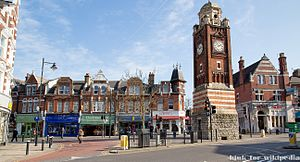 Crouch End - Crouch End Broadway and clocktower.