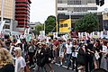 Crowd of protesters on the main intersection of Queen Street, Auckland, at the Stand Against Racism protest in Auckland city, Sunday 24 March 2019.jpg