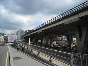 Croydon Flyover - A slip road at a junction with Old Town heading up onto the flyover.