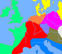 A simplified map of the central European cultures, ca 1200 BC. The purple area is the Lusatian culture, the central blue area is the Knoviz culture, the red area is the central urnfield culture, and the orange area is the northern urnfield culture. The brown area is the Danubian culture, the blue area is the Terramare culture and the green area is the West European Bronze Age. The yellow area is the Nordic Bronze Age