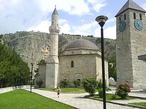 Hajji Ahmed the Ducat Minter's Mosque - mosque (left) and clock tower (right) in Livno