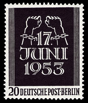 Uprising of 1953 in East Germany - West Berlin stamp (1953)