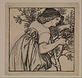 Dante Gabriel Rossetti - King René's Honeymoon - Gardening - Design for a painted Panel for the Cabinet - Google Art Project.jpg