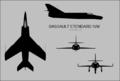 Dassault Etendard IVM three-view silhouette.png