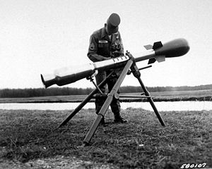 Davy Crockett (nuclear device) - Davy Crockett was a recoilless gun on a tripod for firing the M-388 atomic round