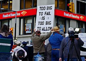 Too big to fail - A man at Occupy Wall Street protesting institutions deemed too big to fail