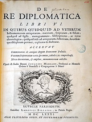Diplomatics - Title page of Volume 6 of Jean Mabillon's De re diplomatica (1681)