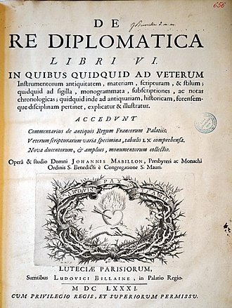Diplomatics - Title page of Jean Mabillon's De re diplomatica (1681)