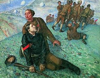 Fine Art of Leningrad - Kuzma Petrov-Vodkin,   Death Commissar. 1928. Russian Museum