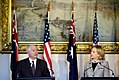 Defense.gov News Photo 101108-D-7203C-011 - Secretary of Defense Robert M. Gates responds to a question while Secretary of State Hillary Rodham Clinton looks on during a joint press.jpg