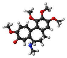 Ball-and-stick model of the demecolcine molecule