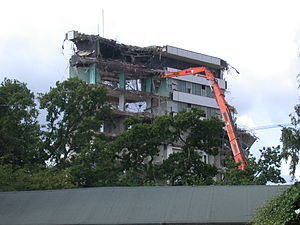 Pebble Mill Studios - Demolition in progress, September 2005