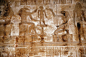 Khnum - Khnum, accompanied by the goddess Heket, moulds Ihy in a relief from the mammisi (birth temple) at Dendera Temple complex, Dendara, Egypt