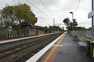 Dennis railway station - Westbound view from platform 2 in May 2014.