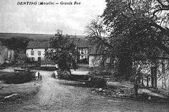 Denting - The Grande-Rue of the village at the start of the 20th century