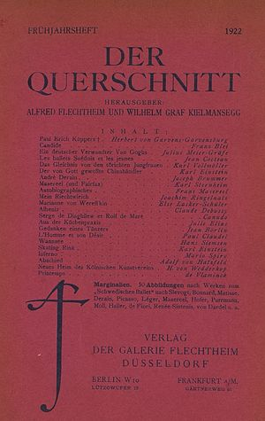 Der Querschnitt - Front page of the issue in Spring 1922