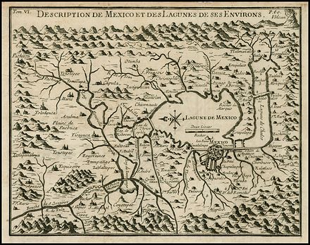 Map of Mexico and the central lake system by Italian traveler Giovanni Francesco Gemelli Careri from one by Siguenza y Gongora. Description De Mexico et des Lagunes De Ses Environs Gemelli Careri.jpg