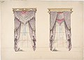 Design for Curtains with Purple, White and Mink Fabric, Purple Fringes and Gold and White Pediments MET DP807331.jpg