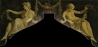 Dessus de porte with a presentation of two reclining women with garlands