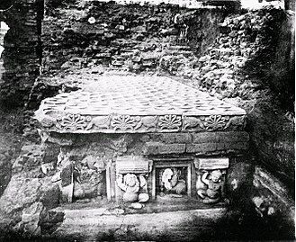 Mahabodhi Temple - Discovery of the Diamond throne, built by Ashoka c.250 BCE.