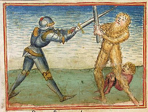 Legends about Theoderic the Great - Dietrich fights the wild man before encountering Sigenot